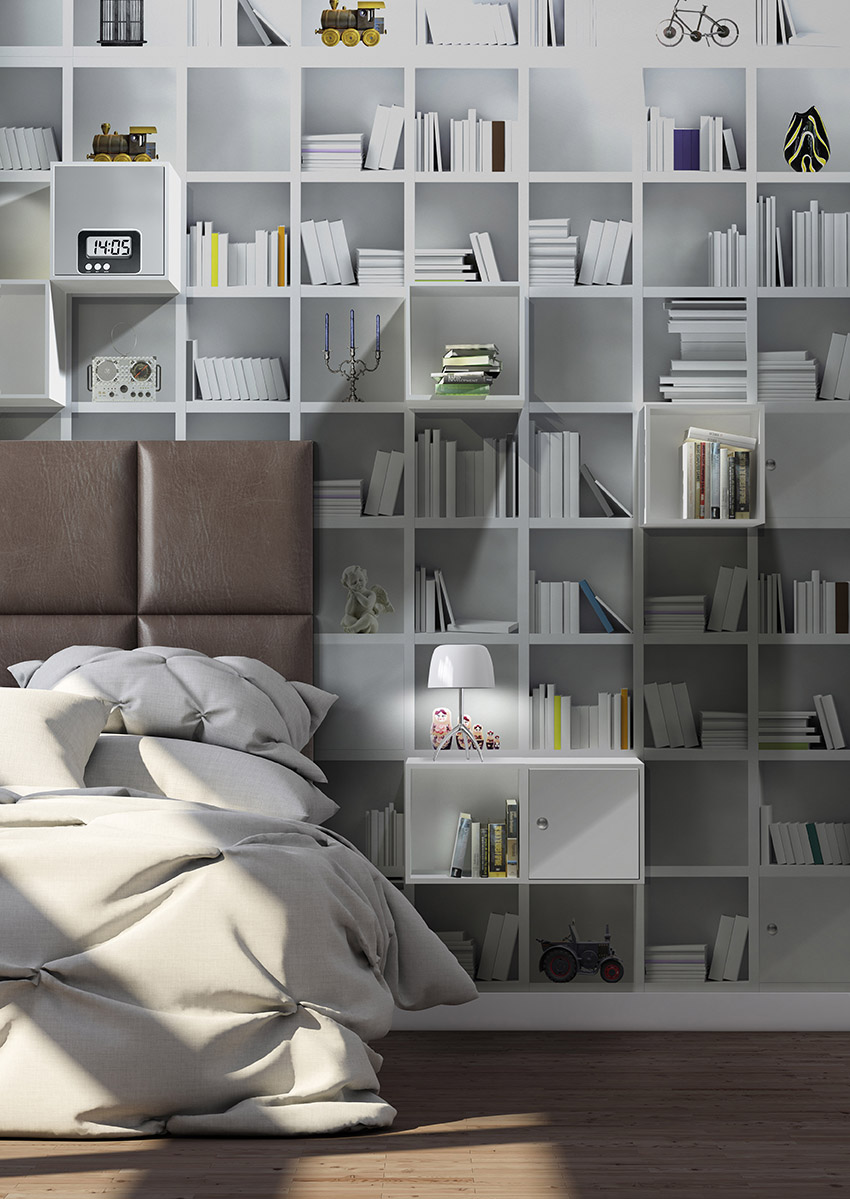Modern bedroom interior. Render image.