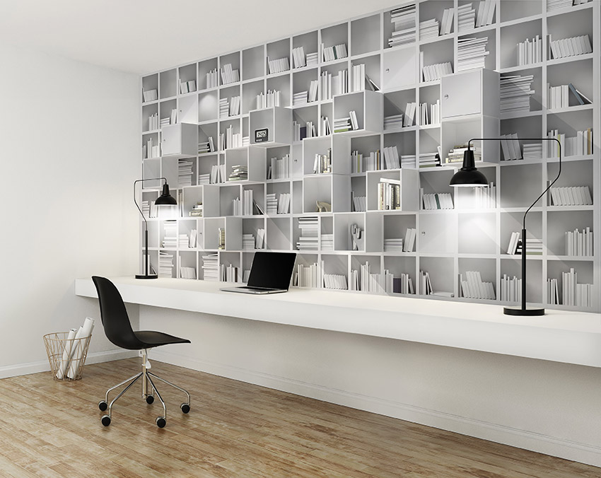 Elegant minimal white home office with black and white detils
