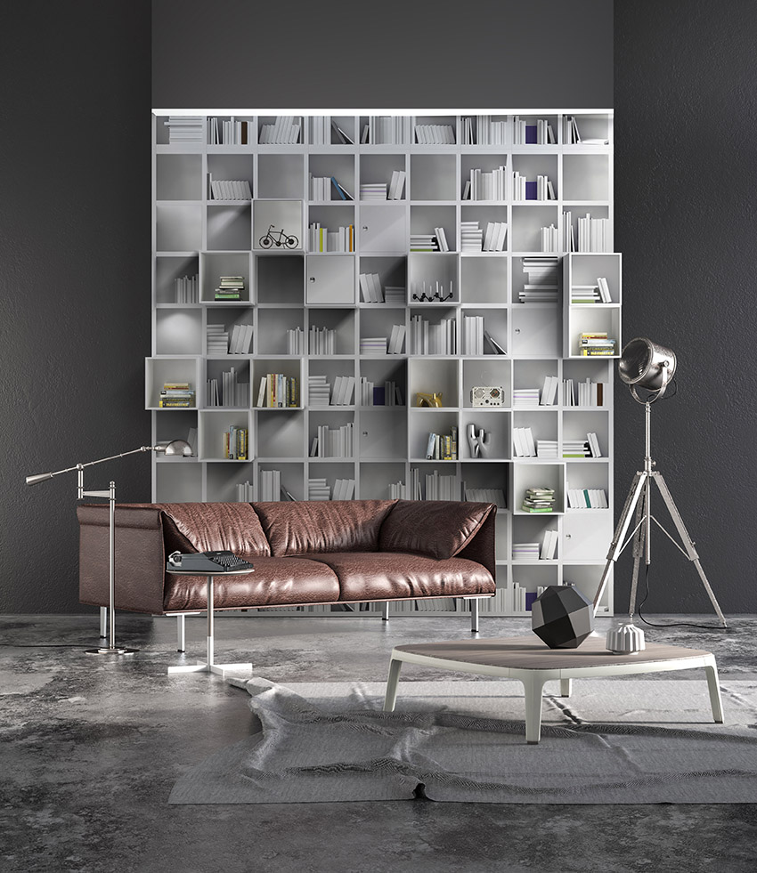 Modern minimalist interior with brown sofa, lamps, table and decors. Render image.